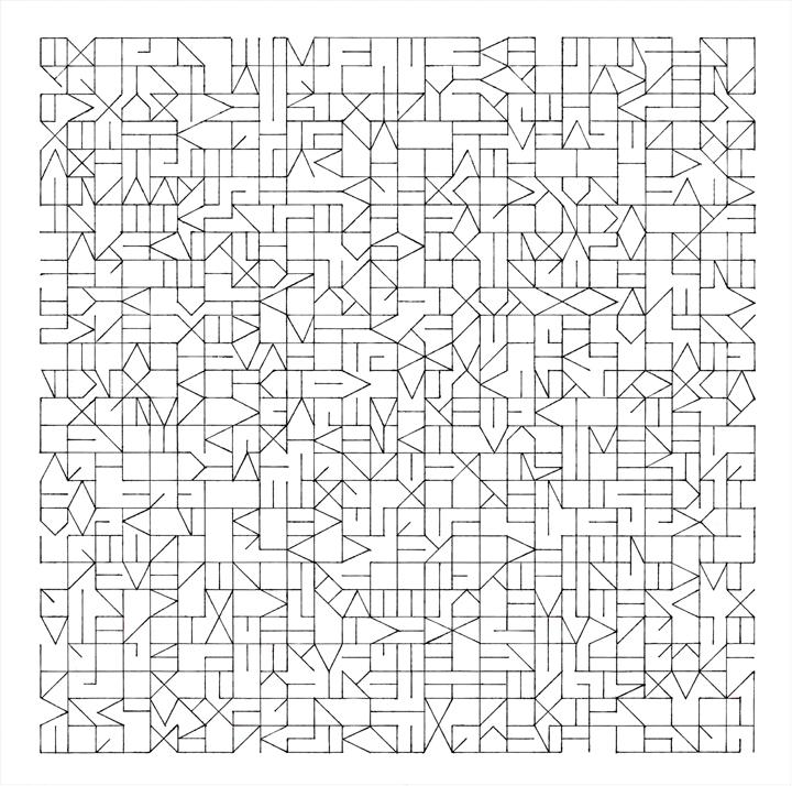 Draaiend Universum, print van pentekening op papier, 30x30 cm, 2013