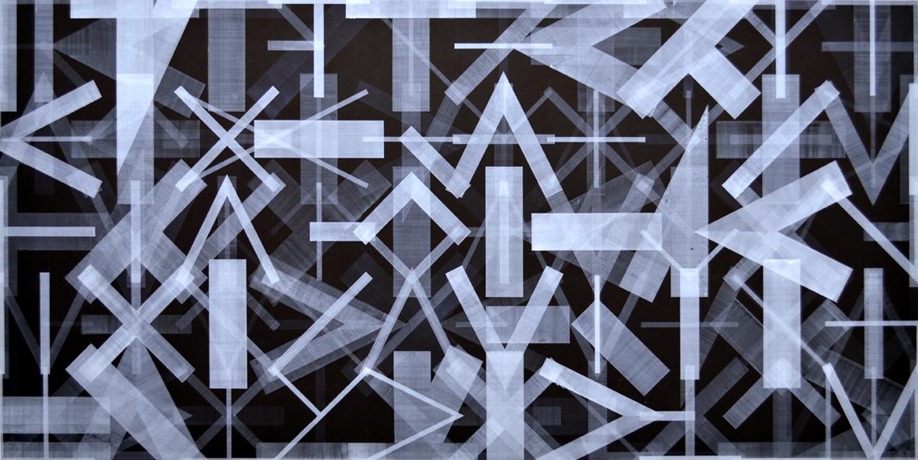 Heelal Machine, aquarelverf op papier, 200x100 cm, 2017