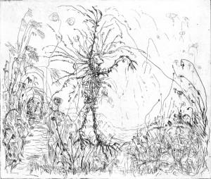 Aankomst van de allerlaatste lente, ets, 20x17 cm, 2012