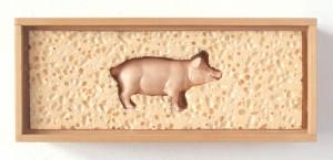 Varkentje in spons - hout, spons en plastic, 27x11x9 cm, 1992