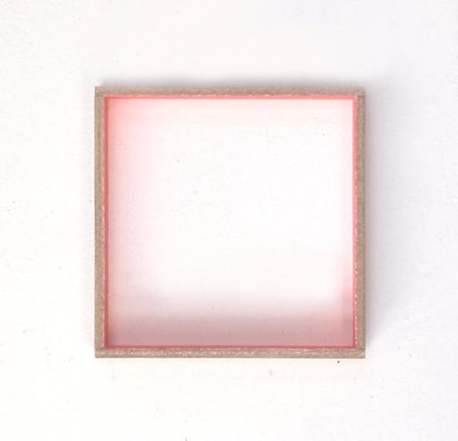 Zonder titel, fluorescerende verf op hout, 25x25 cm, 1985