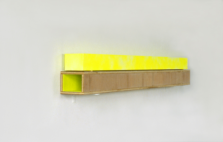 Zonder titel, fluorescerend verf op hout, 122x12x16 cm, 1992