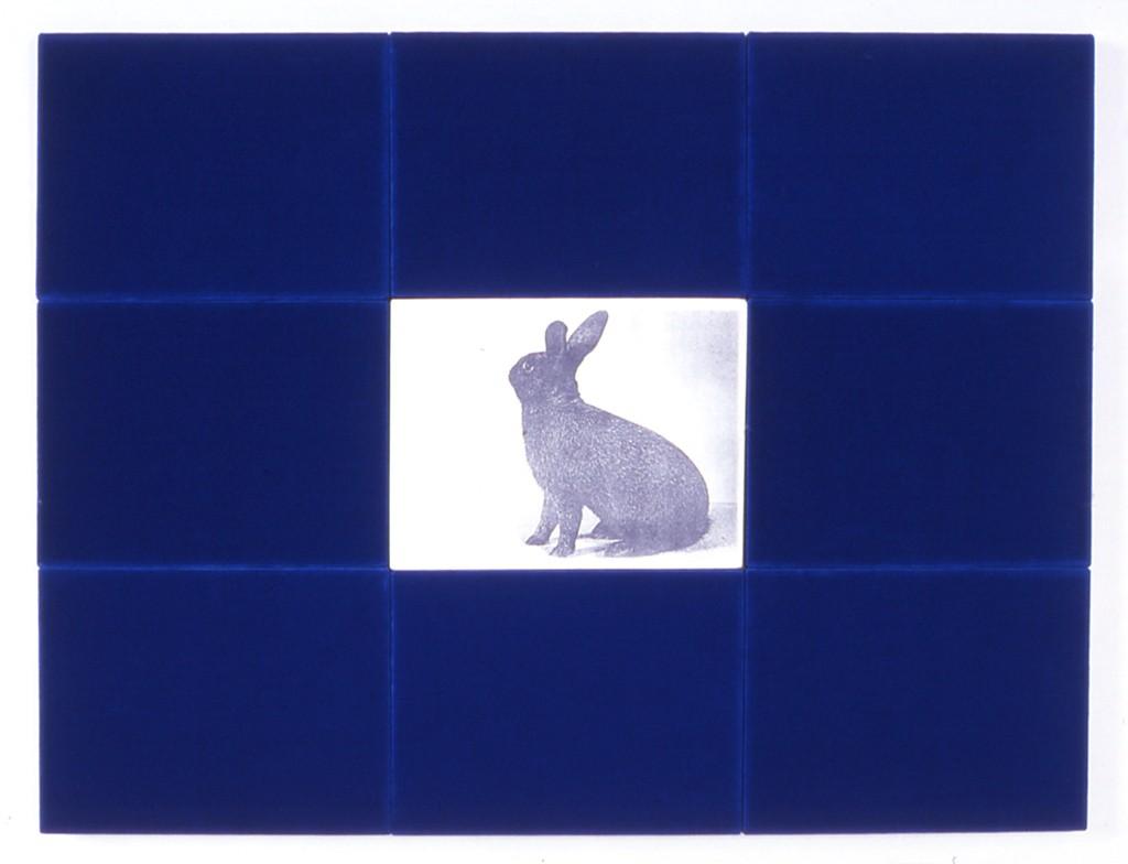 Zonder titel, textiel en zwart-wit kopie, 120x90 cm, 1989