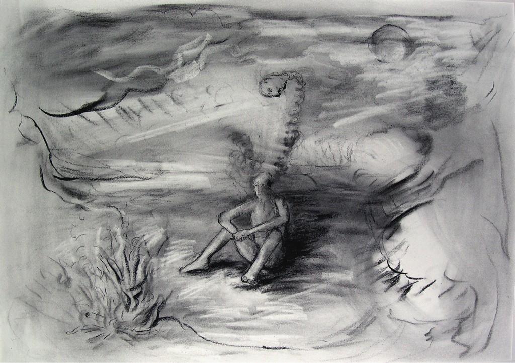 Attributen van de nacht, houtskool op papier, 78x57 cm, 2009
