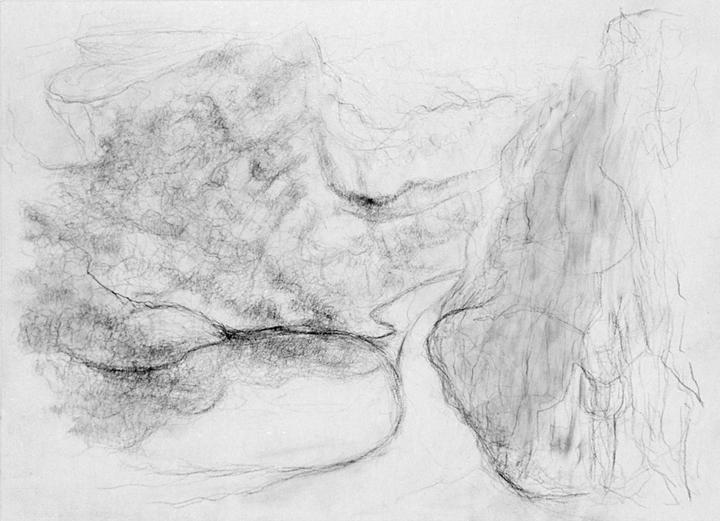 Boom en weggetje, acrylverf en potlood op papier, 36x26 cm, 1994