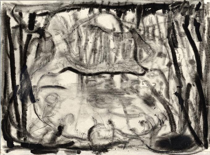 De vijver, houtskool en oostindische inkt op papier, 26x19 cm, 2012