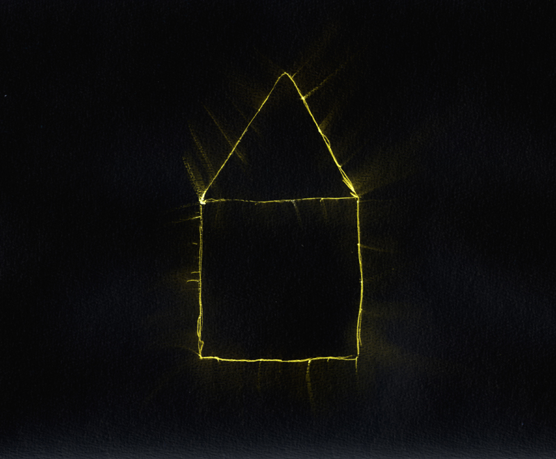 Huisje, print van balpen- en computertekening op papier, 30x21 cm, 2010
