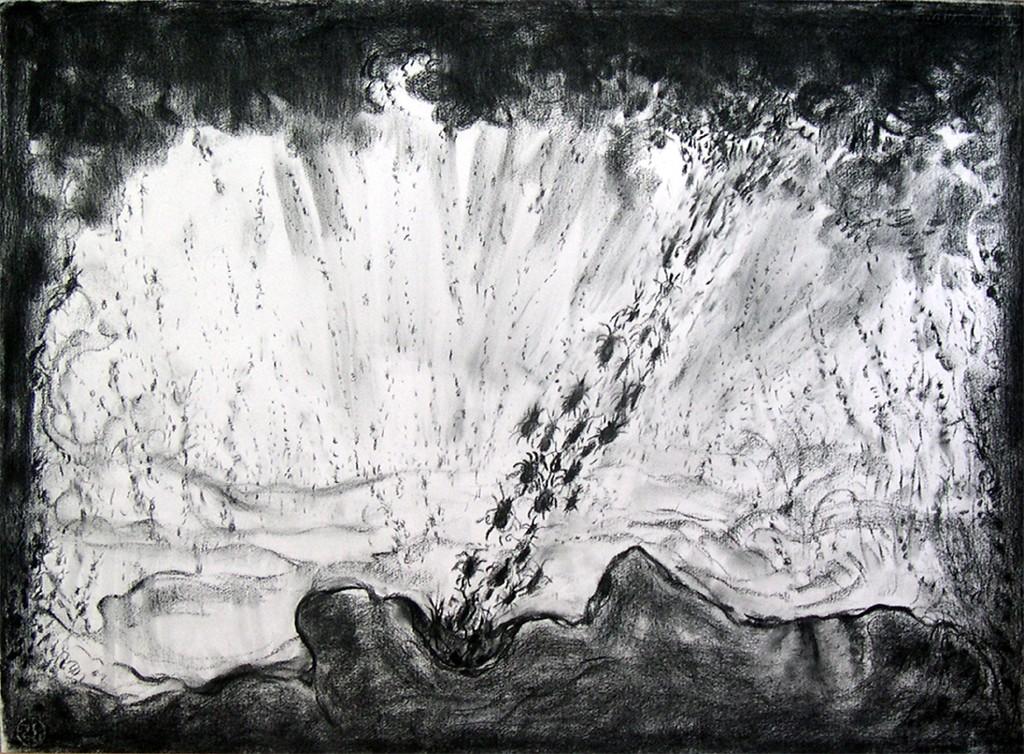 Het afscheid of Het ongelooflijk drukke universum, houtskool op papier, 107x78 cm, 2009