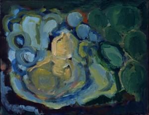 Huisje aan een vijver, olieverf op linnen, 45x35 cm, 1999