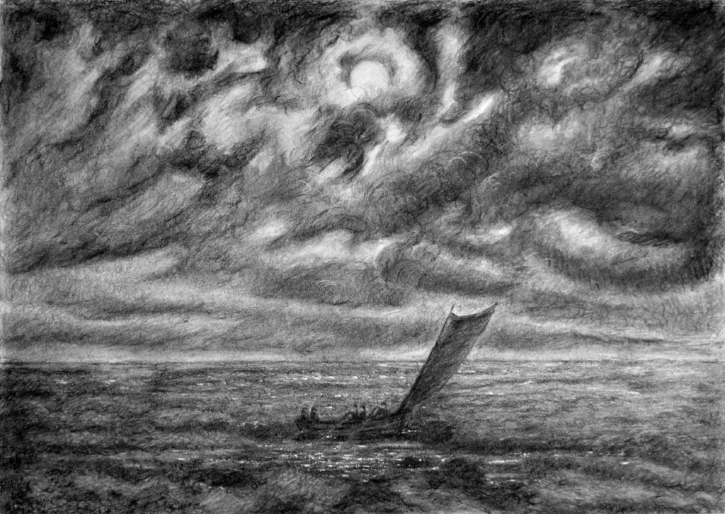 Nacht, houtskool op papier (naar Caspar David Friedrich), 93x65 cm, 2002