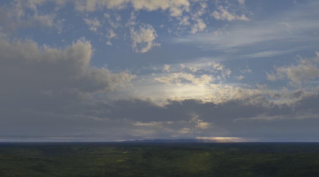 Ongelooflijke wolken, computertekening (Terragen software), 33x48 cm, 2013