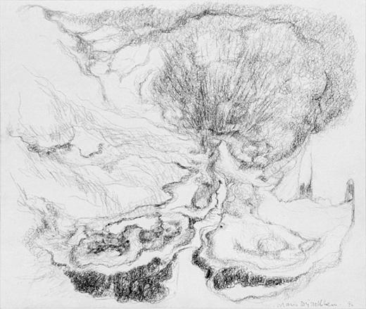 Ontploffing in een landschap, acrylverf en potlood op papier, 28x24 cm, 1994