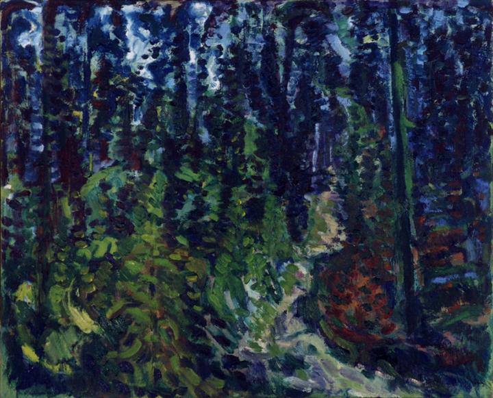 Ontsnapping uit het dennenbos, olieverf op linnen, 60x50 cm, 1999