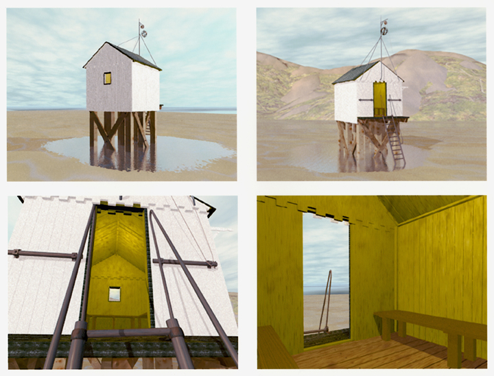 Terschelling huis, computertekening (Bryce software), 40x30 cm, 2002