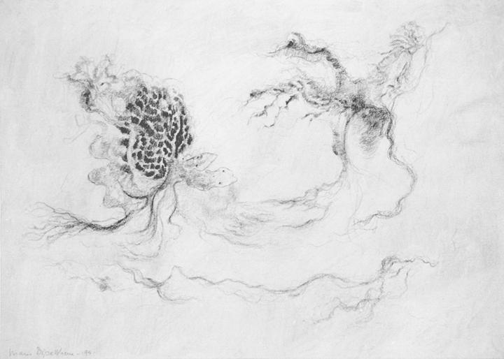 Twee vechtende wezens in een landschap, acrylverf en potlood op papier, 36x26 cm, 1994