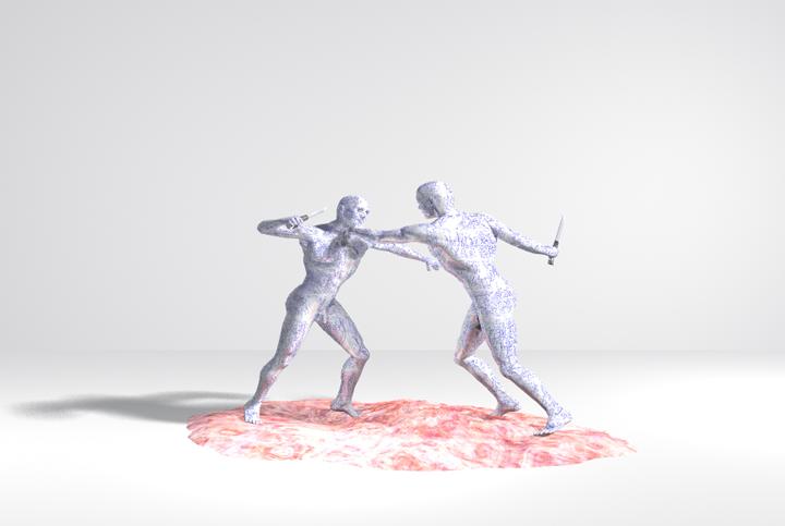 Twee vechtenden, computertekening (Bryce software), 30x21 cm, 2009
