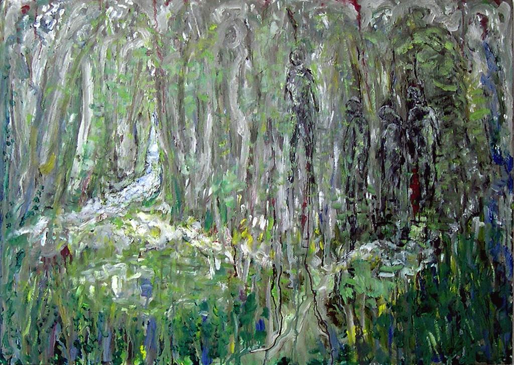 Vier dode lichamen in een bos, olieverf op linnen, 140x100 cm, 2009