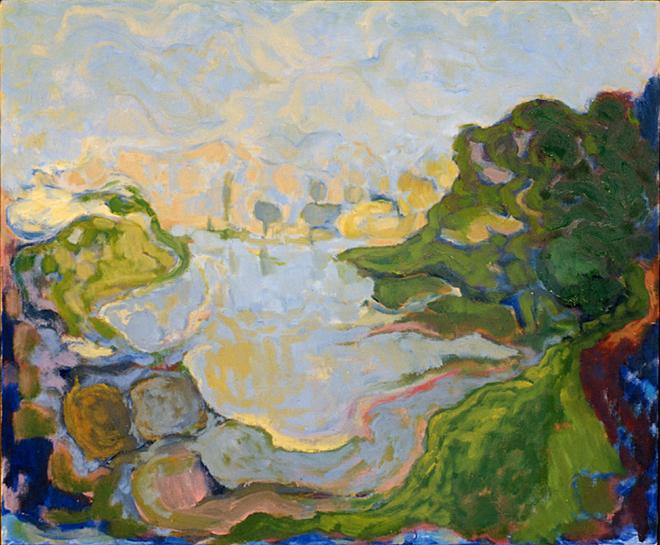 Waterlandschap, olieverf op linnen, 50x40 cm, 1997