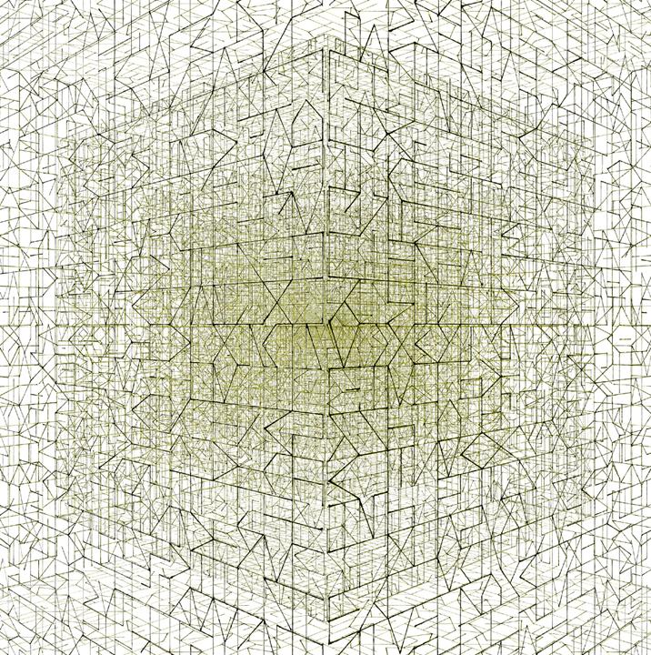 Een onuitsprekelijk heelal, computertekening (Bryce software), 20x20 cm, 2014