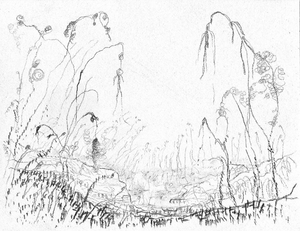 Heel treurig moeraslandschap, print van houtskooltekening op Japans papier, 48x33 cm, 2011