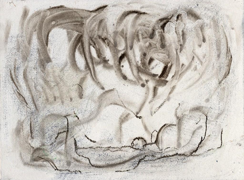Landschap met wolk, print van houtskool enkrijttekening op Japans papier, 48x33 cm, 2012