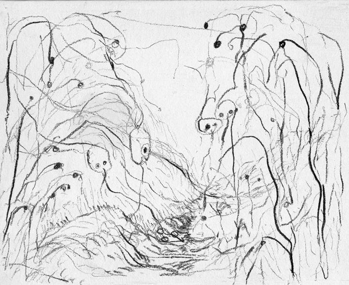 Tekening, print van houtskooltekening op Japans papier, 30x21 cm, 2011