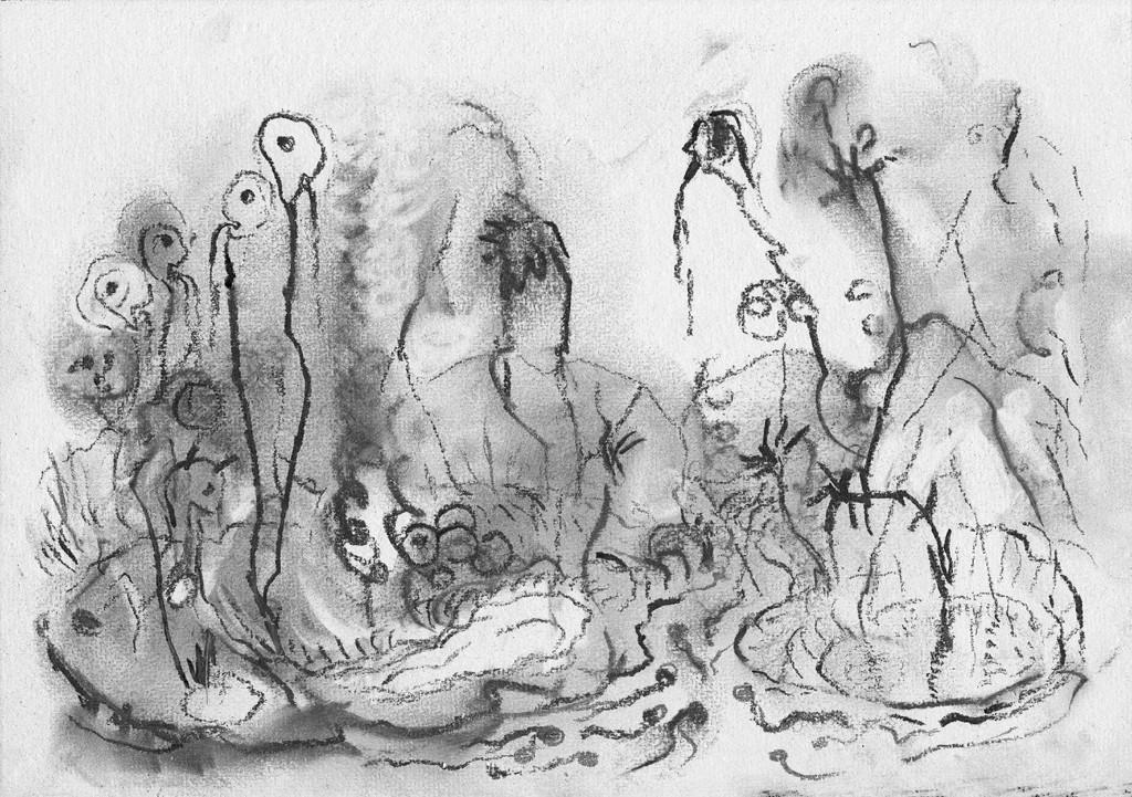 Vijvertje rechts, print van houtskooltekening op Japans papier, 48x33 cm, 2011