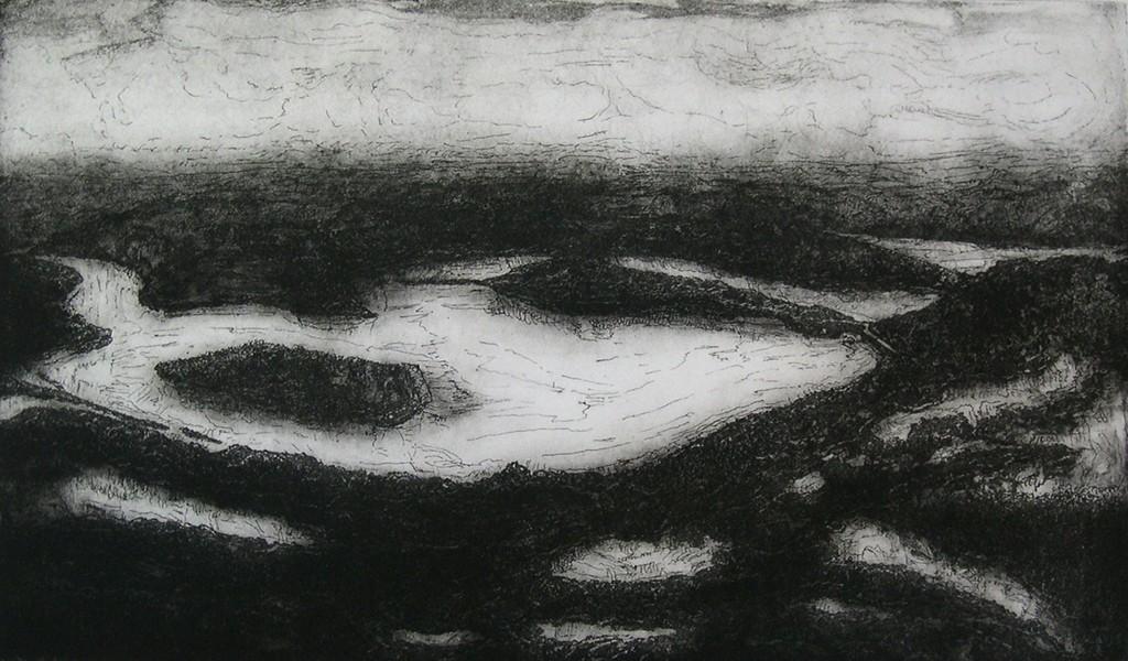 Eifellandschap groot, polymeerets, 78x56 cm, 2004