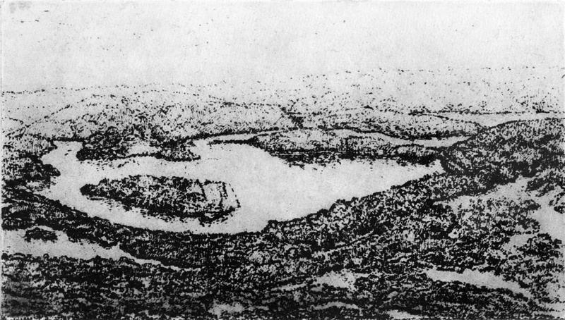 Eifellandschap, polymeerets (naar H. Fischer), 22x13 cm, 2005