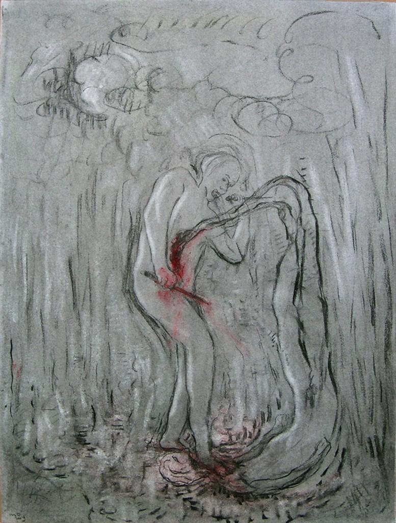 Gevecht, houtskool en pastel op papier, 78x57 cm, 2009