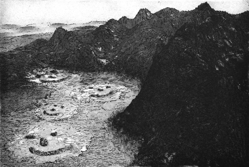 Landschap met belachelijke gezichten, polymeerets, 23x16 cm, 2006