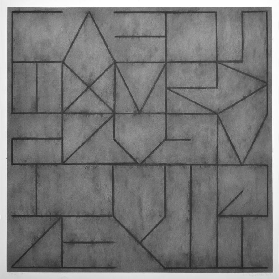 O No!, houtskool op aquarelpapier, 100 x 100 cm, 2016