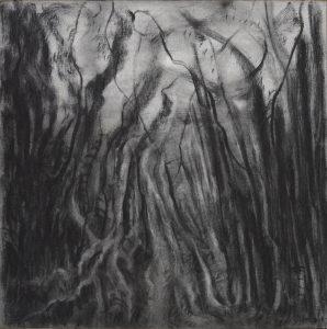 Ontsnappingskamer, houtskool op etspapier, 50 x 50 cm, 2018